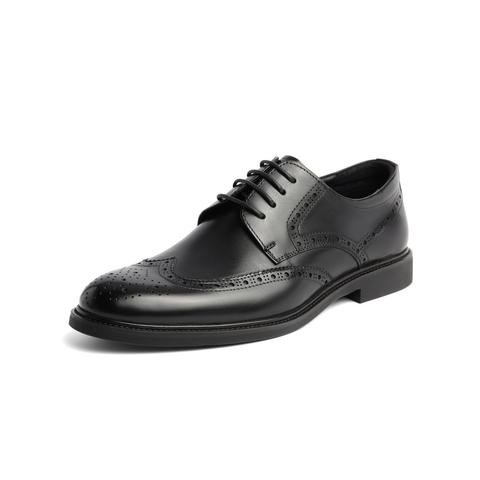 belle/百丽婚鞋2019早春新款棕色牛皮革商务德比鞋男皮鞋89183am9图片
