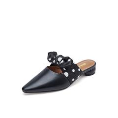Belle/百丽穆勒鞋2019春新羊皮革蝴蝶结粗跟尖头后空女凉鞋BQ831AH9