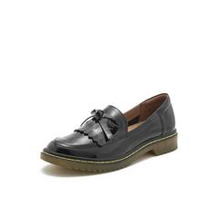 Belle/百丽乐福鞋2019春季商场同款?#36718;?#28422;牛皮革女单鞋BQ521AM9