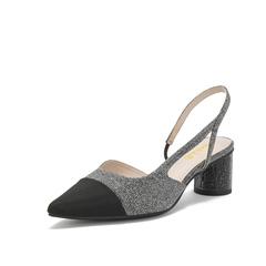 Belle/百麗款涼鞋2019春新商場同款亮片布女粗跟女鞋BK534AH9