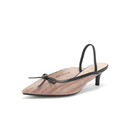 Belle/百丽2019春新商场同款折纹布/羊皮革女皮凉鞋BQ430AH9