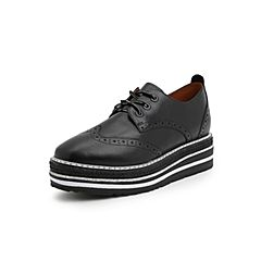 Belle/百丽英伦布洛克风松糕鞋2019春季商场新款黑色牛皮革女厚底单鞋BAZA8AM9