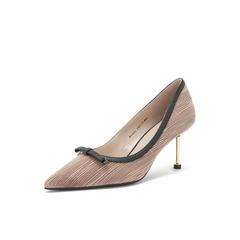 Belle/百丽2019春新商场同款皱纹布/羊皮革女皮鞋BVAA5AQ9