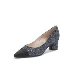 Belle/百丽粗跟单鞋2019春新专柜同款撞色亮片布尖头女鞋BK503AQ9