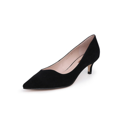 Belle/百丽猫跟鞋2019春新羊绒皮革女尖头细跟单鞋BK507AQ9