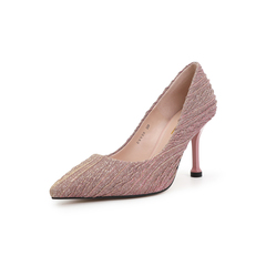 Belle/百丽细高跟单鞋2019春新专柜同款折纹亮线布女鞋BVVB6AQ9