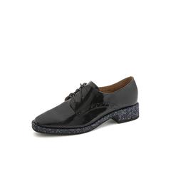 Belle/百丽英伦风漆皮鞋2019春新商场同款皱漆牛皮革女单鞋BJ726AM9