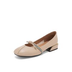 Belle/百丽复古方头奶奶鞋2019春商场同款新牛皮革方跟女单鞋T4F1DAQ9