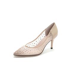 Belle/百丽2019高跟鞋春新商场同款网布/牛皮革女优雅晚宴婚鞋皮鞋T4S1DAQ9
