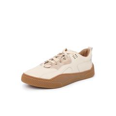 Belle/百丽复?#29260;?#36319;板鞋2019春商场同款新摔纹牛皮革女休闲鞋BW722AM9