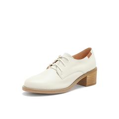 Belle/百丽粗跟单鞋2019春季商场同款新米白牛皮革女休闲鞋T5G1DAM9