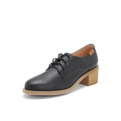 Belle/百丽粗跟单鞋2019春季商场同款新黑色牛皮革女休闲鞋T5G1DAM9