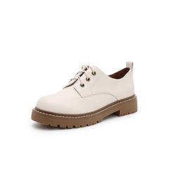 Belle/百丽学院风中跟单鞋2019春季商场同款新摔纹牛皮革女皮鞋3OE20AM9