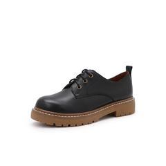 Belle/百丽学院风中跟单鞋2019春季商场同款新黑色油牛皮革女皮鞋3OE20AM9