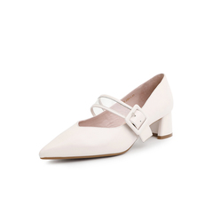 Belle/百丽复古玛丽珍鞋2019年春新商场同款羊皮革/胶片女单鞋T4K1DAQ9