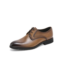 Belle/百丽婚鞋2019春季商场同款新牛皮革男皮鞋商务正装德比鞋5YU01AM9