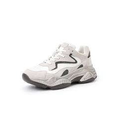 Belle/百丽复古运动风老爹鞋2019春商场同款?#36718;?#24052;戈/布厚底女休闲鞋T5W1DAM9