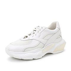 Belle/百丽运动风厚底小白鞋2019春商场同款新牛皮革/网布女休闲鞋BX220AM9