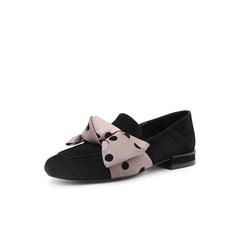 Belle/百丽休闲乐福鞋2019春新款羊皮革蝴蝶结低跟女单鞋18286AM9