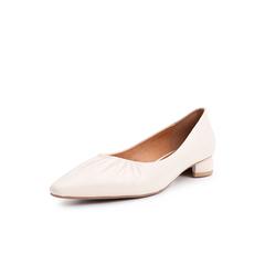Belle/百丽奶奶鞋2019春商场同款新羊皮革低跟尖头女单鞋T5T1DAQ9