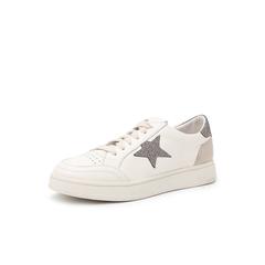 Belle/百丽2019春新商场同款青春小白鞋牛皮革/羊绒皮革/格利特女休闲板鞋T6Z1DAM9