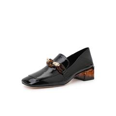 Belle/百丽粗跟乐福鞋2019年春新款皱漆牛皮革复古方头女单鞋15691AM9
