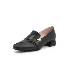 Belle/百丽单鞋2019年春新商场同款牛皮革女乐福鞋T5Y1DAM9