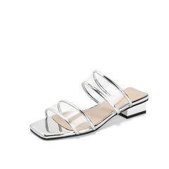Belle/百丽2019夏季新款金属胶片/牛皮革女方跟凉鞋3GY32BT9