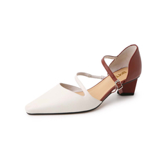 Belle/百丽2019?#30007;?#32650;皮革女尖头撞色粗跟一字扣皮凉鞋BM137BK9