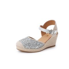 Belle/百丽渔夫鞋2019?#30007;?#21830;场同款亮片布/羊皮革女皮凉鞋BW432BH9