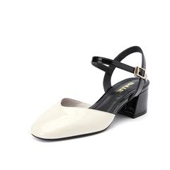 Belle/百丽女鞋2019?#30007;轮?#28422;牛皮革粗跟中空女凉鞋17065BH9
