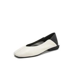 Belle/百丽奶奶鞋2019春新羊皮革撞色拼接低跟方头女皮鞋19157AQ9