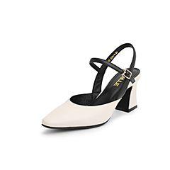 Belle/百丽2019?#30007;?#21830;场同款牛皮革/超纤粗高跟女凉鞋T6P1DBH9