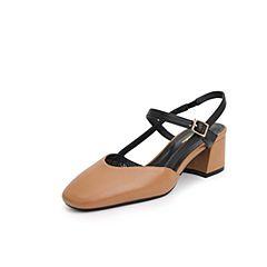 Belle/百丽2019?#30007;?#21830;场同款牛皮革/超纤粗高跟女凉鞋T6Q1DBH9