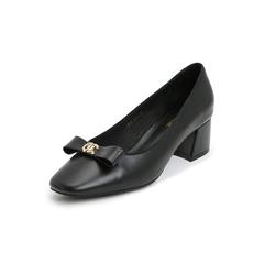 Belle/百丽蝴蝶结浅口鞋2019春新商场同款牛皮革女粗跟皮鞋T7K1DAQ9