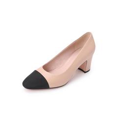Belle/百丽拼色小香风单鞋2019春新商场同款羊皮革/布粗跟女皮鞋T7V1DAQ9