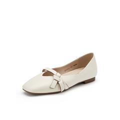Belle/百麗奶奶鞋2019秋新商場同款綿羊皮革平底女皮鞋BYYB2CQ9