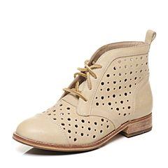 CAT/卡特专柜同款女子米黄色牛皮革休闲鞋休闲装备(Casual)P308593