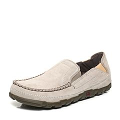 CAT/卡特春夏季浅灰色牛剖层革/合成革/织物男户外休闲鞋休闲装备(Casual)P714833G1EMS05