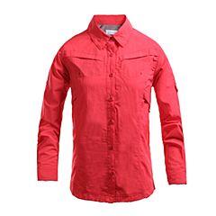 Columbia/哥伦比亚春夏女红色野外探索100% 锦纶可翻卷袖子 长袖衬衫PL7234676