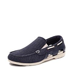Crocs卡骆驰 男子 春夏专柜同款 男士海滩帆布便鞋深蓝/水泥灰 旅行 便鞋 休闲鞋202774-46K