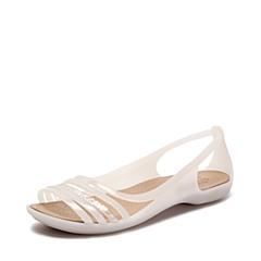 Crocs卡骆驰 女子 春夏 专柜同款 女士伊莎贝拉平底凉鞋 牡蛎色  沙滩 旅行 戏水 凉鞋202463-159
