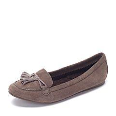 Crocs卡骆驰 专柜同款 秋季女士 莉娜暖棉乐福鞋 胡桃色 203544-267