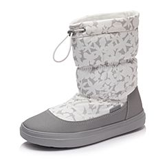 Crocs卡骆驰女鞋 秋冬女士休闲洛基靴 牡蛎色 软跟平底短筒靴|203422-159
