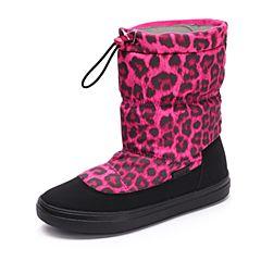 Crocs卡骆驰女鞋 秋冬女士休闲洛基靴 浆果色 软跟平底短筒靴|203422-675