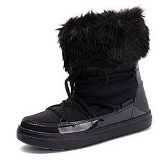 Crocs卡骆驰女鞋 秋冬女士系带洛基靴 黑色 软跟平底短筒靴|203423-001