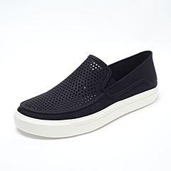 Crocs卡骆驰 男子 春夏专柜同款 都会街头洛卡便鞋黑色/白色 旅行 便鞋 休闲鞋202363-066