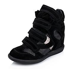 Hush Puppies/暇步士秋季专柜同款黑色羊皮/织物/牛皮女皮靴HCN63CZ5