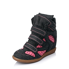 Hush Puppies/暇步士冬季专柜同款深灰/粉红-毛绒布女靴HCN75DZ5