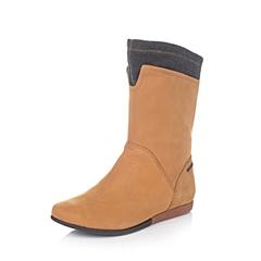 Hush Puppies/暇步士冬季专柜同款棕/黑灰色磨砂牛皮/织物女靴HEL65DS5